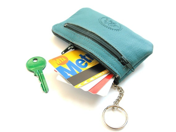 Leather Coin Wallet, Leather Coin Purse, Leather Coin KeyChain, Leather Coin Pouch, Gift For Him, Gift For Her - Mini Zippy in EMERALD GREEN