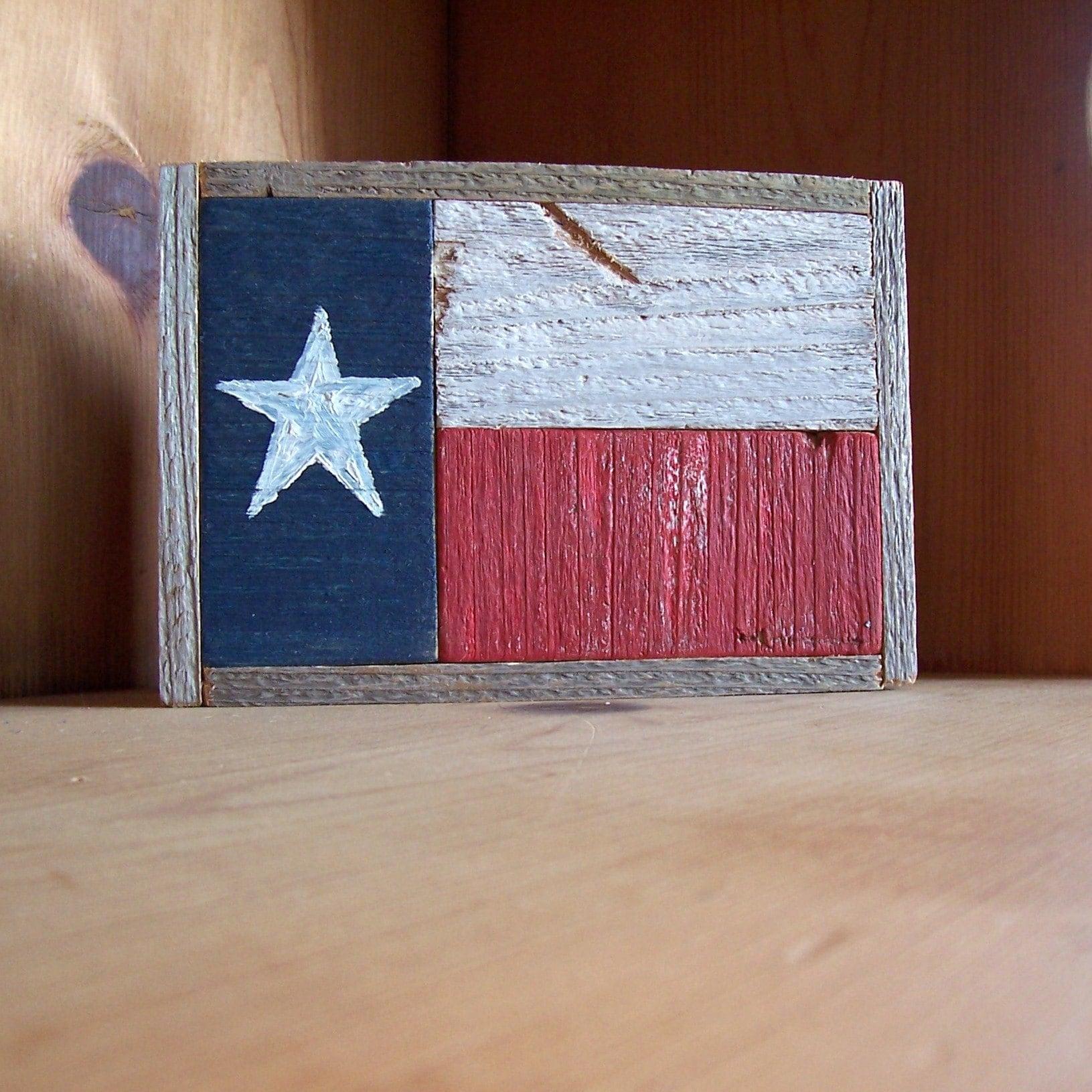 Rustic Reclaimed Fencewood Texas Flag Folk Wall Art By