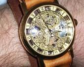 Steampunk Edwardian Victorian leather bracelet watch