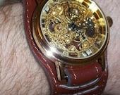 Steampunk Victorian Edwardian leather bracelet watch  + FREE BONUS: laser-cut Coppersmith Design necklace
