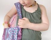 Purple & Pink  Reversible Shoulder Bag for Girls in Oriental Prints 2-5yrs