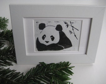 PANDA WITH BAMBOO - Black and White Linocut