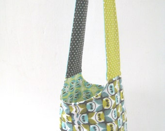 Reversible Owl & Bunny shoulder Bag for Girls made of organic flannel