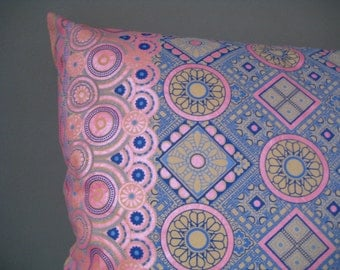 Large Pink and Blue Retro Print Cushion with Circles, Squares & Flowers - Oriental Style