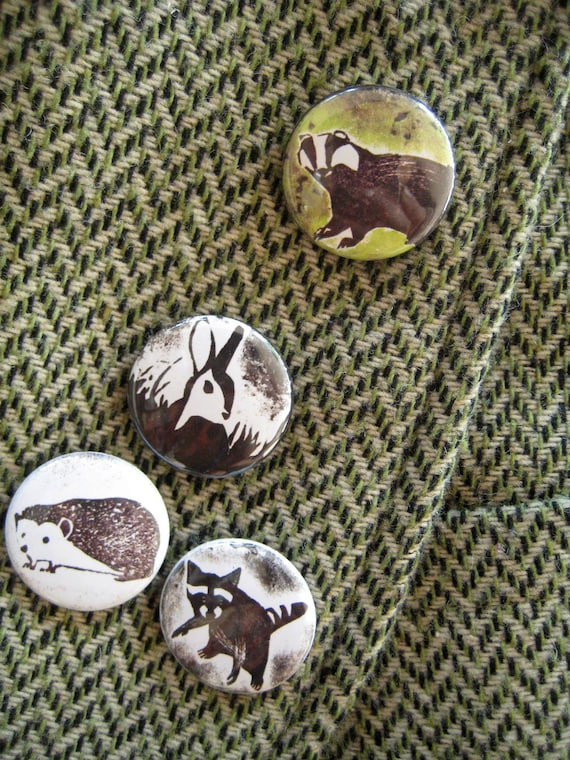 Set of Four Pinback Buttons - Grass- & Woodland Animals OR Cheeky Favourites