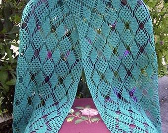 Diamonds and Lace Crochet Shawl Pattern pdf