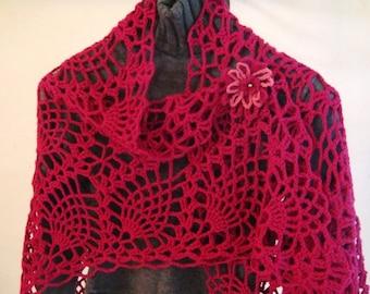 Pineapples Lace Crochet Shawl  pattern pdf
