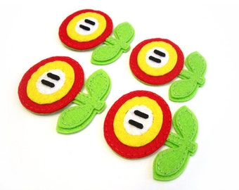 Fireflower Mario brothers Felt Applique (Set of 4 pieces)