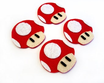Mushroom Mario brothers Felt Applique (Set of 4 pieces)