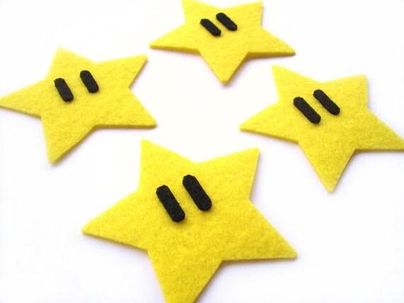 Star Mario brothers Felt Applique (Set of 4 pieces)