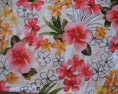 White with Yellow and Pink Floral Swimsuit Fabric