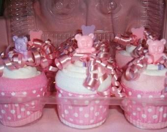 diaper cupcakes for girl pkg. of 6