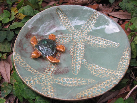 pottery bowl turtle starfish