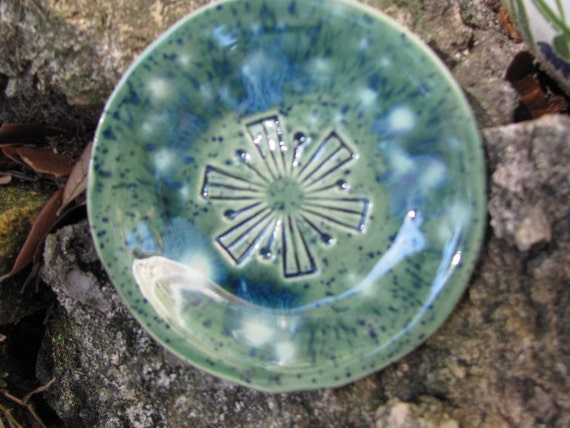 ceramic handmade bowl, green with dark blue flecks, mod, ring holder, ring dish, dipping dish, tappas