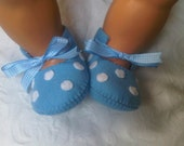Baby blue with white polka dots