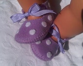 Lilac with white polka dots