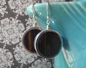 Framed palmwood circle earrings
