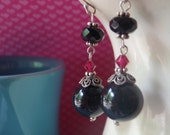 Black onyx earrings with ruby and jet Swarovski crystals