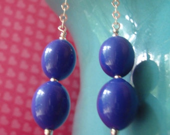 Deep blue lucite and sterling silver drop earrings