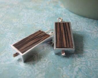 Framed rectangle palmwood dangles