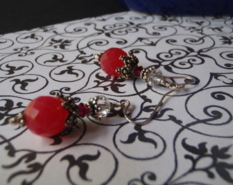 Faceted ruby jade, Bali silver and Swarovski crystal earrings