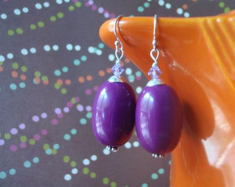 Eggplant purple vintage lucite oval earrings with lilac Swarovski crystals and sterling silver