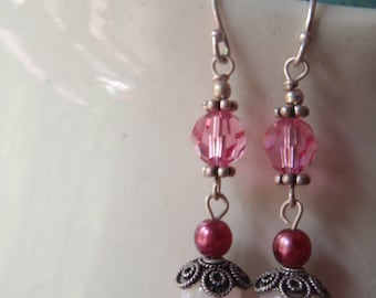 Positively Pink... rose quartz, pearl and crystal drop earrings