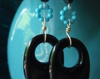 Vintage lucite hoop earrings with Swarovski crystal