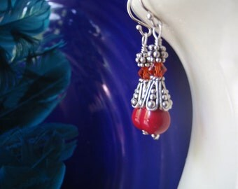 Vintage lucite teardrop earrings with crystals and Bali silver