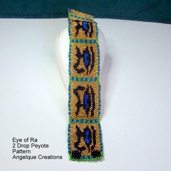 Beaded Pattern - Eye of Ra, 2 Drop ODD COUNT Peyote PDF Pattern, gold, green, blue, black