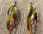 Long Feather Earrings - Olive Green and Brown Feathers, Autumn Colors - Falling Leaves