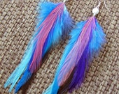 Feather Earrings - Colorful Blue, Pink and Purple Feathers - Cotton Candy