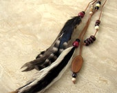 25% OFF Feather Earring - Extra Long, Beaded on Suede Cord - Tribal Trinkets (Ready to Ship)