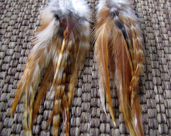 Feather Earrings - Natural Brown Feathers - Natural Simplicity