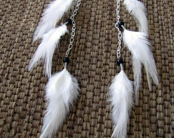 Long Feather Earrings - Long Winter White Feather Earrings - Angel Wings
