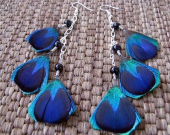 Peacock Feather Earrings - Long Colorful Beaded Feather Earrings - Feathered Sun
