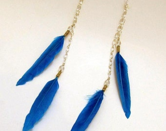 Turquoise Feather Earrings - Long Blue Feather Earrings