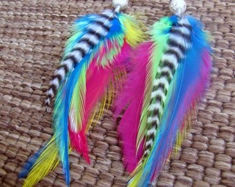 Rainbow Feather Earrings - Colorful, Beaded Neon Feather Earrings - Neon Wings
