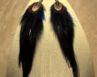 Rooster and Pheasant Feather Earrings - Long Black and Blue Feather Earrings - Crow