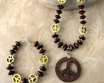Wooden Peace Sign Necklace and Bracelet Set - Peace of Wood