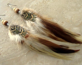 Feather Earrings - Natural Rooster Feathers, Beaded Feather Jewelry - Tribal Spirit