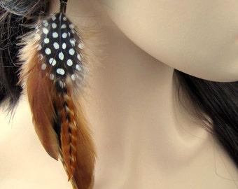 Feather Earrings - Natural Brown, Black and White Feathers - Rain Dance