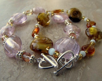 Lampwork Glass Beaded Bracelets - Love is Golden (Set of 2)