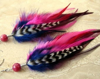 Feather Earrings - Colorful Purple, Pink, Red and Blue Feathers, Rainbow Earrings - Rosella