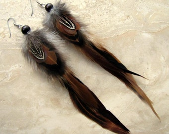 Feather Earrings - Long Feathers, Brown Feather Earrings, Feather Jewelry - Griffon