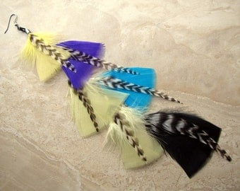20% OFF Colorful Feather Earring - Long Single Feather Earring, Aztec Print Inspired - Tribal Rainbow (Ready to Ship)