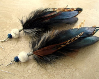 Feather Earrings - Black and Brown Feathers, Beaded Feather Earrings - Auburn Sun