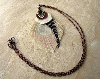 Bleached Peacock Feather Necklace - Antiqued Copper Chain, White Peacock Necklace - Eye of Thoth