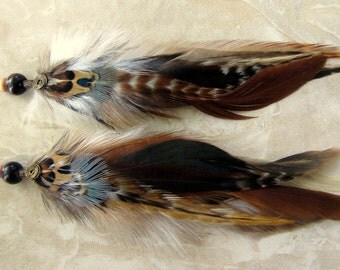 Feather Earrings - Natural Colors, Rooster and Pheasant Feathers - Mohican