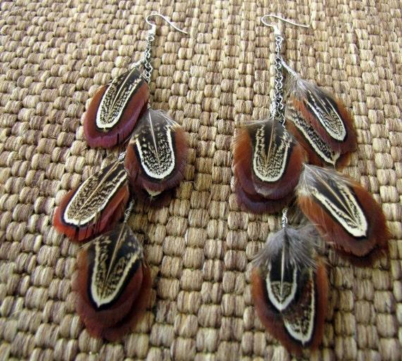 Autumn Sky - Feather Earrings